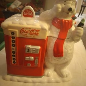 Vintage coca cola polar bear cookie jar